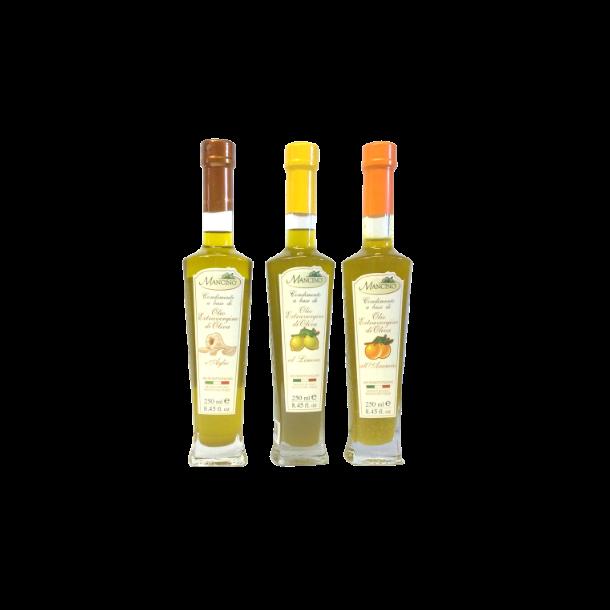 Ekstra jomfru olivenolie m. citron , hvidløg eller appelsin