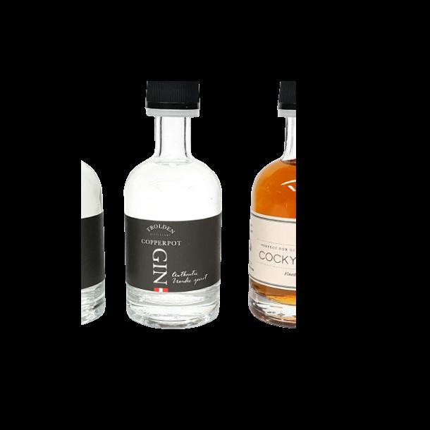 Gin og rom i 5cl. flasker