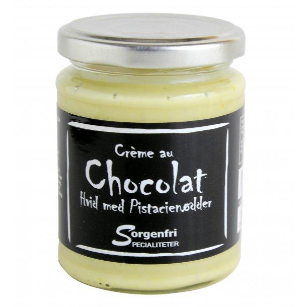 Belgisk chokoladecreme - hvid m. pistage nødder
